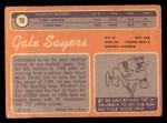 1970 Topps #70   Gale Sayers Back Thumbnail