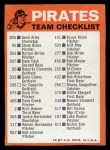 1973 Topps Blue Team Checklists #20   Pittsburgh Pirates Back Thumbnail