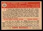 1952 Topps #173   Roy Smalley Back Thumbnail