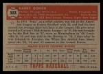 1952 Topps #303   Harry Dorish Back Thumbnail