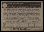 1952 Topps #15 BLK Johnny Pesky  Back Thumbnail