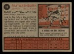 1962 Topps #19   Ray Washburn Back Thumbnail