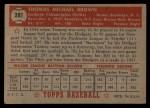 1952 Topps #281   Tom Brown Back Thumbnail