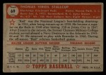 1952 Topps #69 RED Virgil Stallcup  Back Thumbnail