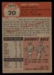 1953 Topps #20   Hank Thompson Back Thumbnail