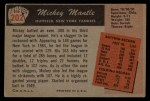 1955 Bowman #202   Mickey Mantle Back Thumbnail