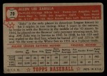 1952 Topps #70 RED  Al Zarilla Back Thumbnail