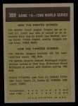 1961 Topps #309  1960 World Series - Game #4 - Cimoli Save in Critical Play  -  Gino Cimoli Back Thumbnail