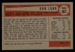 1954 Bowman #87  Don Lund  Back Thumbnail