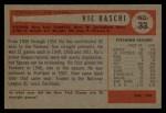1954 Bowman #33 TR Vic Raschi  Back Thumbnail
