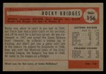 1954 Bowman #156 2B  Rocky Bridges Back Thumbnail