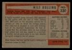 1954 Bowman #130  Milt Bolling  Back Thumbnail
