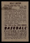 1952 Bowman #155  Billy Meyer  Back Thumbnail