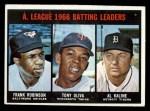 1967 Topps #239  1966 AL Batting Leaders  -  Al Kaline / Tony Olivia / Frank Robinson Front Thumbnail