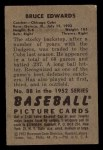 1952 Bowman #88   Bruce Edwards Back Thumbnail