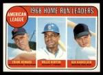 1969 Topps #5  AL HR Leaders    -  Frank Howard / Willie Horton / Ken Harrelson Front Thumbnail