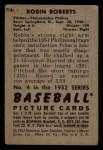 1952 Bowman #4   Robin Roberts Back Thumbnail