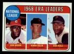 1969 Topps #8  NL ERA Leaders  -  Bob Gibson / Bob Bolin / Bob Veale Front Thumbnail