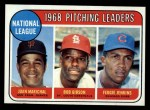 1969 Topps #10  NL Pitching Leaders  -  Juan Marichal / Bob Gibson / Fergie Jenkins Front Thumbnail