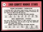 1969 Topps #16  Giants Rookies  -  Cesar Guitierrez / Rich Robertson Back Thumbnail