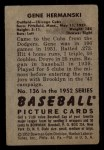 1952 Bowman #136  Gene Hermanski  Back Thumbnail