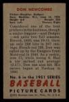 1951 Bowman #6  Don Newcombe  Back Thumbnail