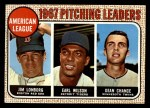1968 Topps #10 ERR AL Pitching Leaders  -  Dean Chance / Jim Lonborg / Earl Wilson Front Thumbnail