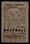 1952 Bowman #25  Mickey McDermott  Back Thumbnail