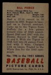 1951 Bowman #196   Bill Pierce Back Thumbnail