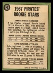 1967 Topps #123   -  Jim Price / Luke Walker Pirates Rookies Back Thumbnail
