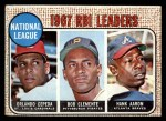 1968 Topps #3  1967 NL RBI Leaders  -  Hank Aaron / Orlando Cepeda / Roberto Clemente Front Thumbnail