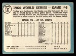 1965 Topps #137  1964 World Series - Game #6 - Bouton Wins Again  -  Jim Bouton Back Thumbnail