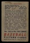 1951 Bowman #165  Ted Williams  Back Thumbnail