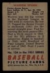 1951 Bowman #134  Warren Spahn  Back Thumbnail
