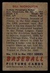 1951 Bowman #113  Swish Nicholson  Back Thumbnail
