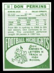 1968 Topps #50   Don Perkins Back Thumbnail