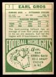 1968 Topps #7   Earl Gros Back Thumbnail
