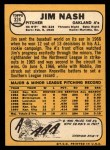 1968 Topps #324   Jim Nash Back Thumbnail