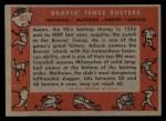 1958 Topps #351   -  Del Crandall / Eddie Mathews / Hank Aaron / Joe Adcock Braves Fence Busters Back Thumbnail
