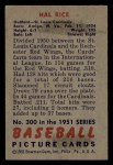 1951 Bowman #300  Hal Rice  Back Thumbnail