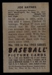 1952 Bowman #103  Joe Haynes  Back Thumbnail