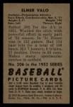 1952 Bowman #206   Elmer Valo Back Thumbnail