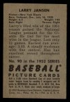 1952 Bowman #90  Larry Jansen  Back Thumbnail