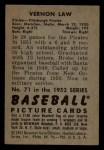1952 Bowman #71  Vern Law  Back Thumbnail