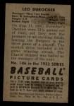 1952 Bowman #146   Leo Durocher Back Thumbnail