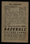 1952 Bowman #104  Hal Jeffcoat  Back Thumbnail