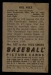 1952 Bowman #107   Del Rice Back Thumbnail