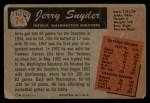 1955 Bowman #74   Jerry Snyder Back Thumbnail