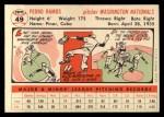 1956 Topps #49  Pedro Ramos  Back Thumbnail
