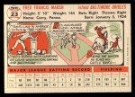 1956 Topps #23   Fred Marsh Back Thumbnail